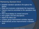 maintaining standard work
