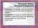 wholesaler retailer structural arrangements