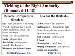 yielding to the right authority romans 6 11 18