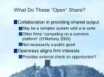what do these open share