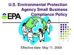 u s environmental protection agency small business compliance policy