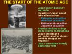 the start of the atomic age