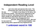 independent reading level