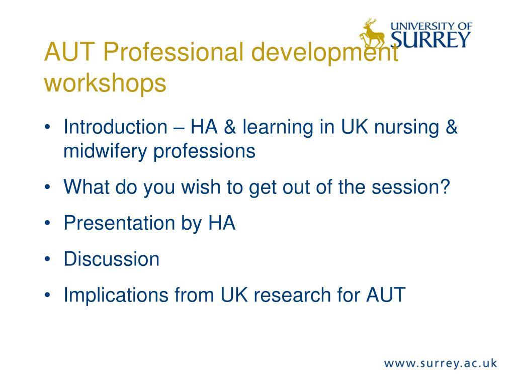 aut professional development workshops l.