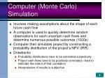 computer monte carlo simulation
