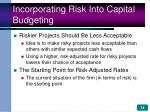 incorporating risk into capital budgeting14