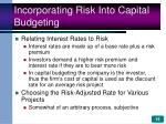 incorporating risk into capital budgeting15