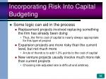 incorporating risk into capital budgeting16