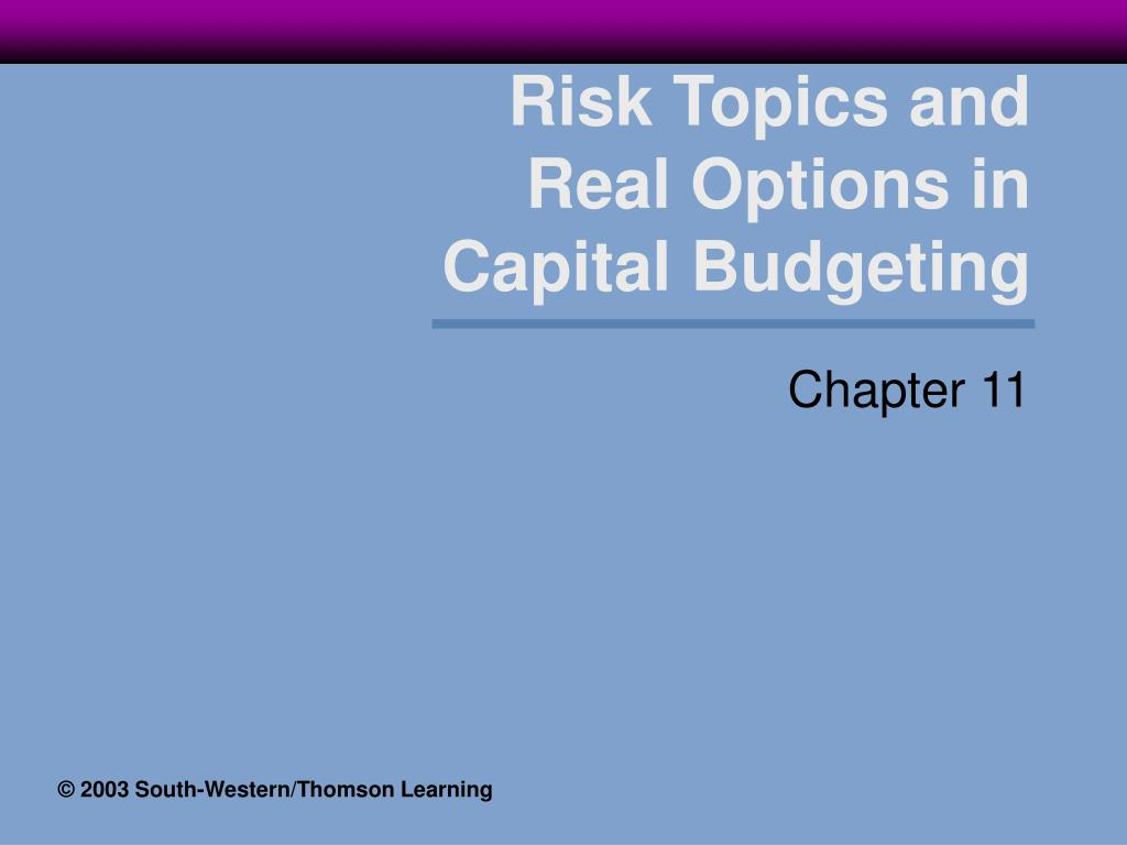 risk topics and real options in capital budgeting l.