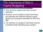 the importance of risk in capital budgeting