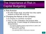 the importance of risk in capital budgeting4