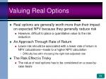 valuing real options
