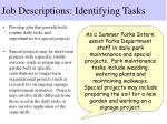 job descriptions identifying tasks