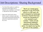 job descriptions sharing background