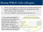 sharing wblps with colleagues