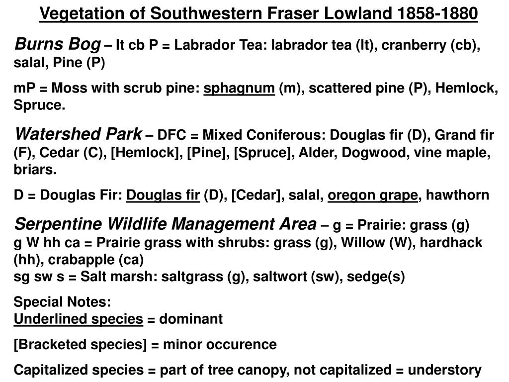 Vegetation of Southwestern Fraser Lowland 1858-1880