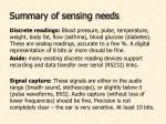 summary of sensing needs24