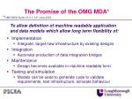 the promise of the omg mda