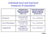 individual level and trial level measures of association