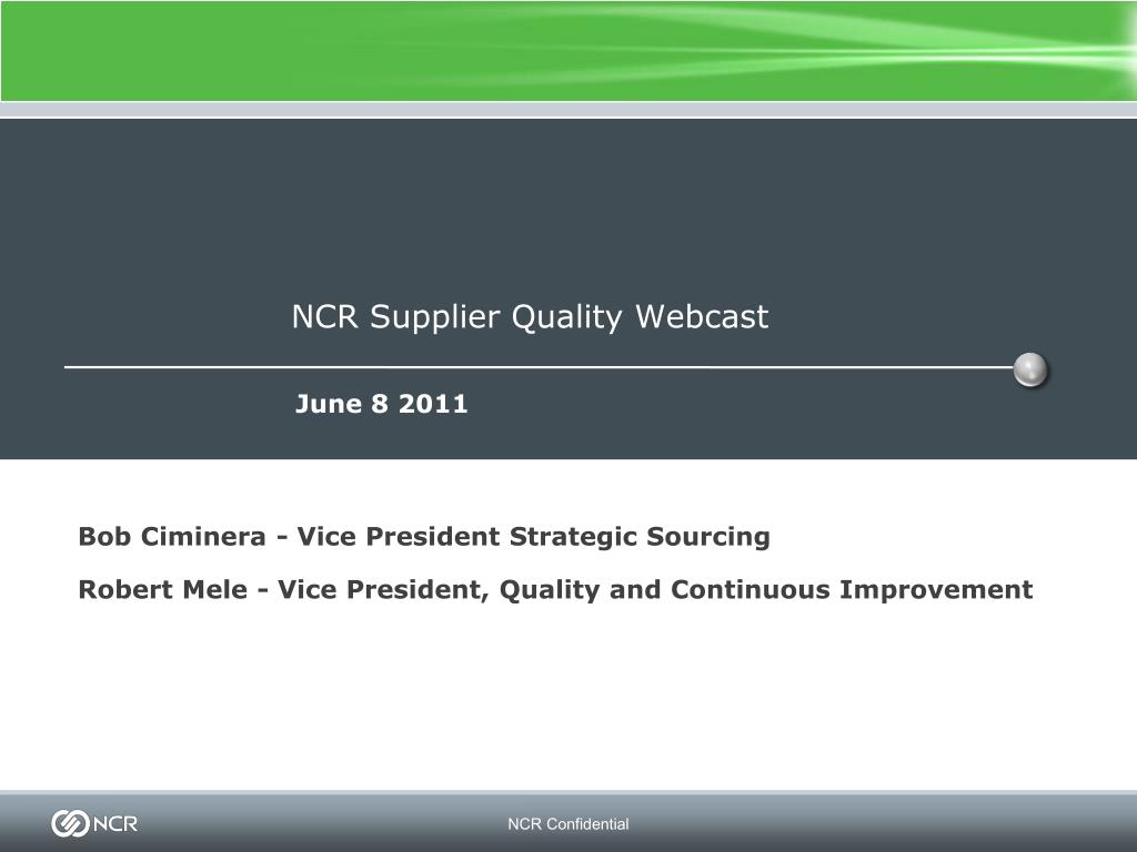 ncr supplier quality webcast l.
