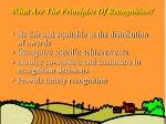 what are the principles of recognition
