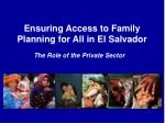 ensuring access to family planning for all in el salvador