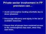 private sector involvement in fp provision can