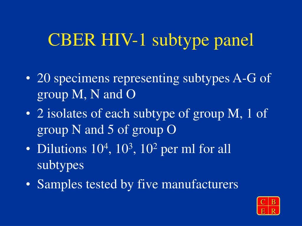 CBER HIV-1 subtype panel