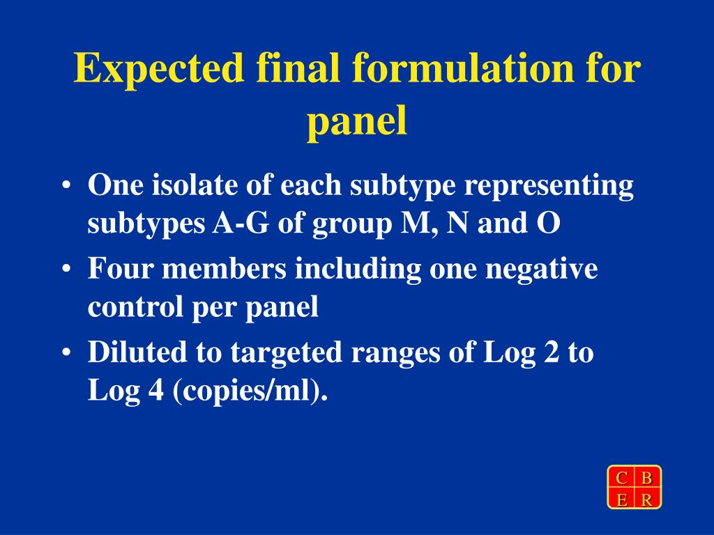 Expected final formulation for panel