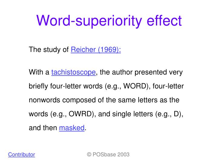 Ppt Word Superiority Effect Powerpoint Presentation Id527449
