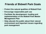 friends of bidwell park goals