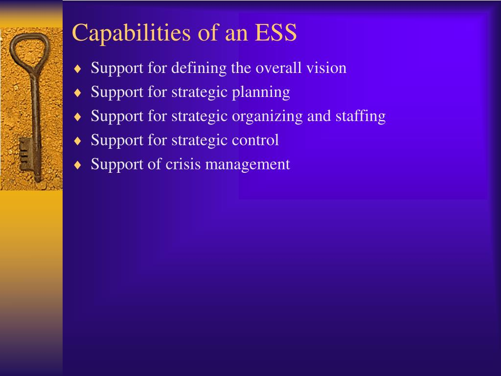 Capabilities of an ESS