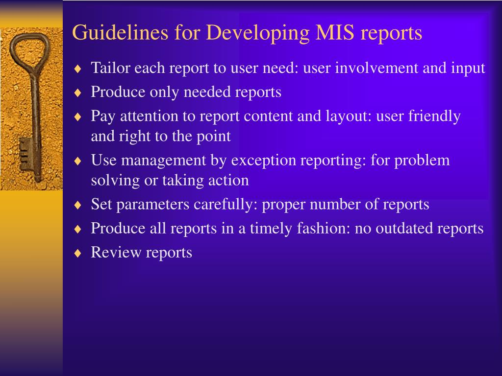 Guidelines for Developing MIS reports