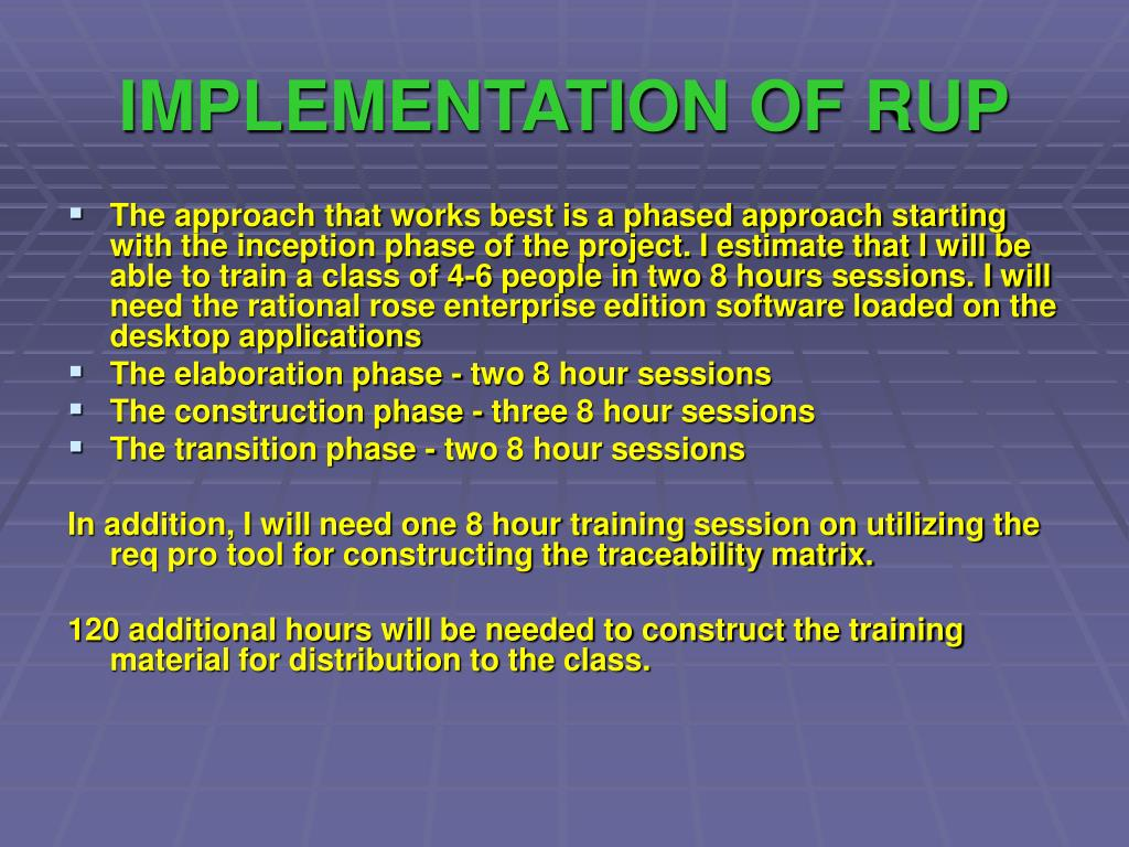 IMPLEMENTATION OF RUP
