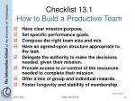 checklist 13 1 how to build a productive team