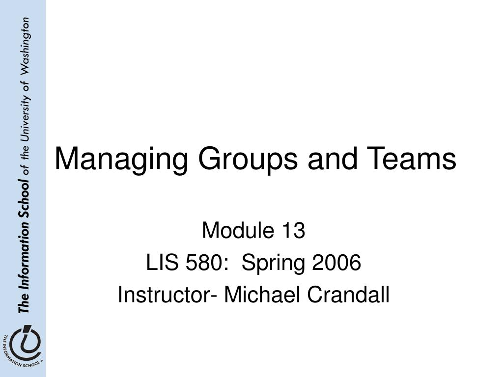 managing groups and teams l.