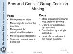 pros and cons of group decision making