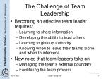 the challenge of team leadership