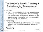 the leader s role in creating a self managing team cont d