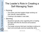 the leader s role in creating a self managing team