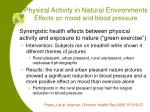 physical activity in natural environments effects on mood and blood pressure
