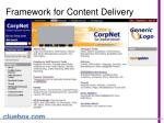 framework for content delivery