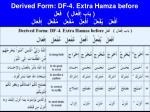 derived form df 4 extra hamza before