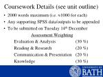coursework details see unit outline