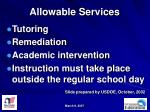allowable services
