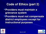 code of ethics part 2