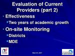 evaluation of current providers part 2