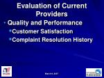 evaluation of current providers