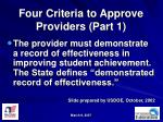 four criteria to approve providers part 1