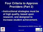 four criteria to approve providers part 2